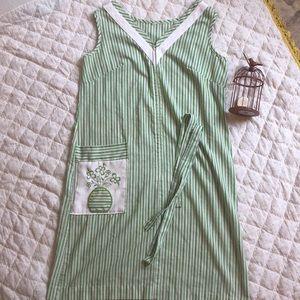 Vintage green striped 60s-70s era dress